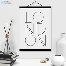 Minimalist Black White London Typography A4 Wooden Framed Poster Nordic Home Decor Wall Art Print Picture Canvas Painting Scroll(China)