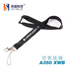 Airbus A350 XWB Lanyard Black Ribbon Rope Sling for ID Case Holder for Pilot Aviation Lover Airman Flight Crew