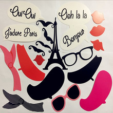24pcs Paris Photo Booth Prop kids happy birthday gift party funny mask bridal baby shower wedding banner decor event supplies