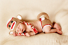 monkey hat and diaper cover set newborn photography prop the sock monkey costume newborn halloween costume
