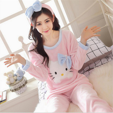New Autumn winter women pajamas lovely Flannel Home clothing Round neck long sleeve Cartoon characters Hello Kitty sleepwear(China)