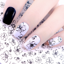 Graphical Flower Rabbit Water Decal Nail Sticker Line Flower Black Simple Drawing Nail Art Transfer Sticker DIY Nail Accessories