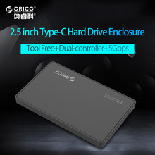 "ORICO 2.5"" HDD Case Caddy USB 3.1 Type C to SATA External Hard Disk Drive Enclosure for 9.5mm HDD SSD Support UASP(China)"