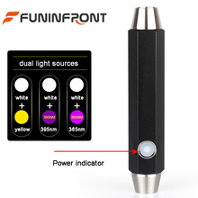 650LMs White Light & Yellow or UV Light Professional Jade LED Flashlight Inside with Li-ion Battery Direct USB Rechargeable(China)
