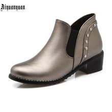 European Size to 43 44 45 46 47 48 49 50 leisure high quality PU Round Toe design Boots Slip-On design Hoof Heels women shoes