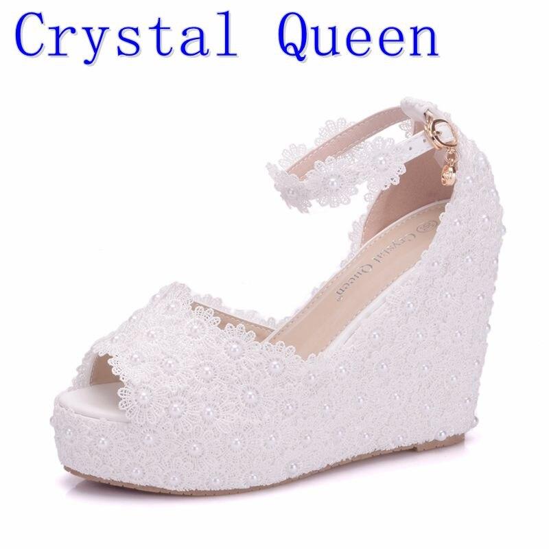 Crystal Queen Women Sandals Elegant Wedges High Heels Platform Wedding Lace Flower Shoes Bride Dress Shoes 11cm Open Toe Heels<br>