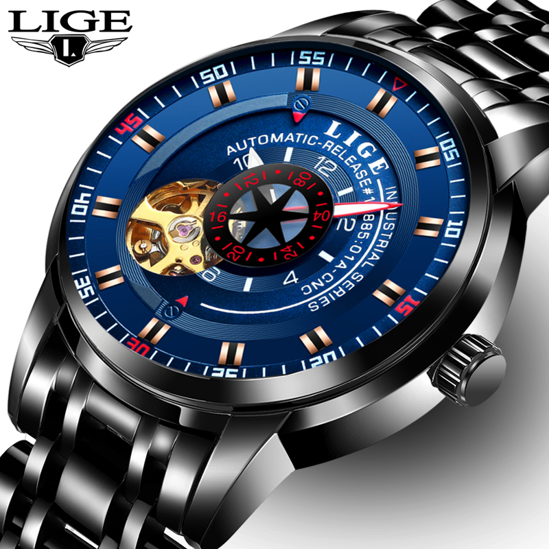 LIGE Brand Mens Fashion Automatic Mechanical Watches Men Full Steel Waterproof Sport Watch Black Clock Relogio Masculino 2017<br>