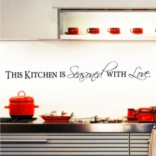 The Kitchen is Seasoned With Love Quote Kitchen Wall Stickers Home Decor Vinyl Art Mural Decal Lettering Words
