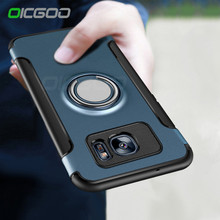 OICGOO Luxury Shockproof Case For Samsung Galaxy S7 S7 Edge Case Metal Ring Holder Combo Cover For Samsung S7 Edge S7 Phone Bag(China)