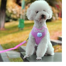30pcs/lot Sweet Pink dot cotton mesh pet dog vest harness with fabric leashes leads for small medium dogs S/M/L WA1205