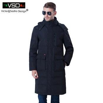 Victor & Design de Sasha 2016New Marca-Roupas Jaqueta Moda Casual Grosso Alongamento Do Joelho Casaco Longo Para Baixo Homens Jaqueta de Inverno Parka