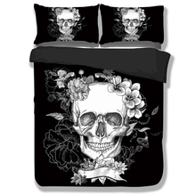 Wongsbedding Brand Black 3D Skull Bedding Sets With Flower Duvet Cover Bedclothes Single Full Queen King Size 3PCS New Design