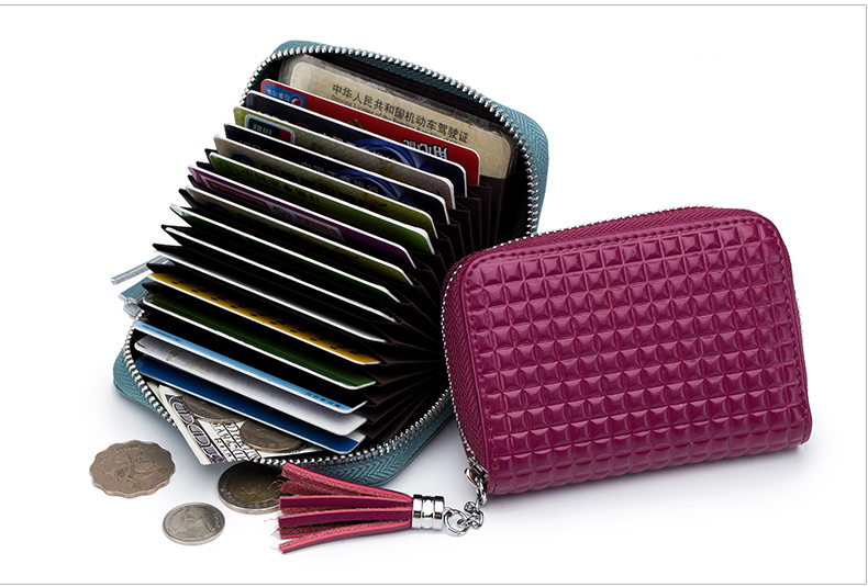 Lomelobo Lady Split Leather Card Wallet Holder Girl Zipper Coin Purse Women Cowhide Large capacity Card Case Housekeeper HCL7126 Details (08)