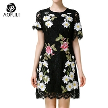 S- XXL Spring Summer Luxury Brand Runway Women Black Lace Dress Sexy Floral Daisy Embroidery Short Dresses Italian HOT 2117(China)