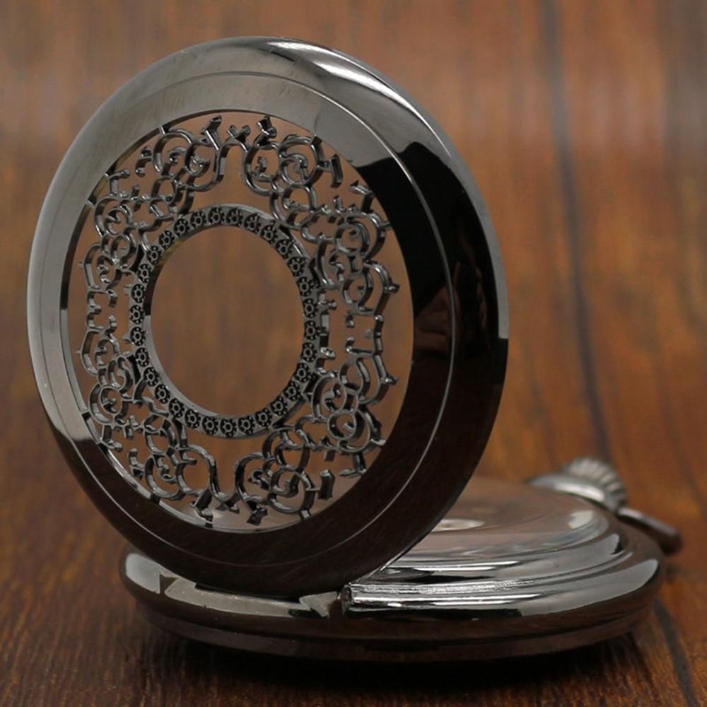 Hollow Stylish Gift Set for Mechanical Pocket Watch Set Men Women Black Steampunk Skeleton Watches Clock Gift Box Bad Chain (8)
