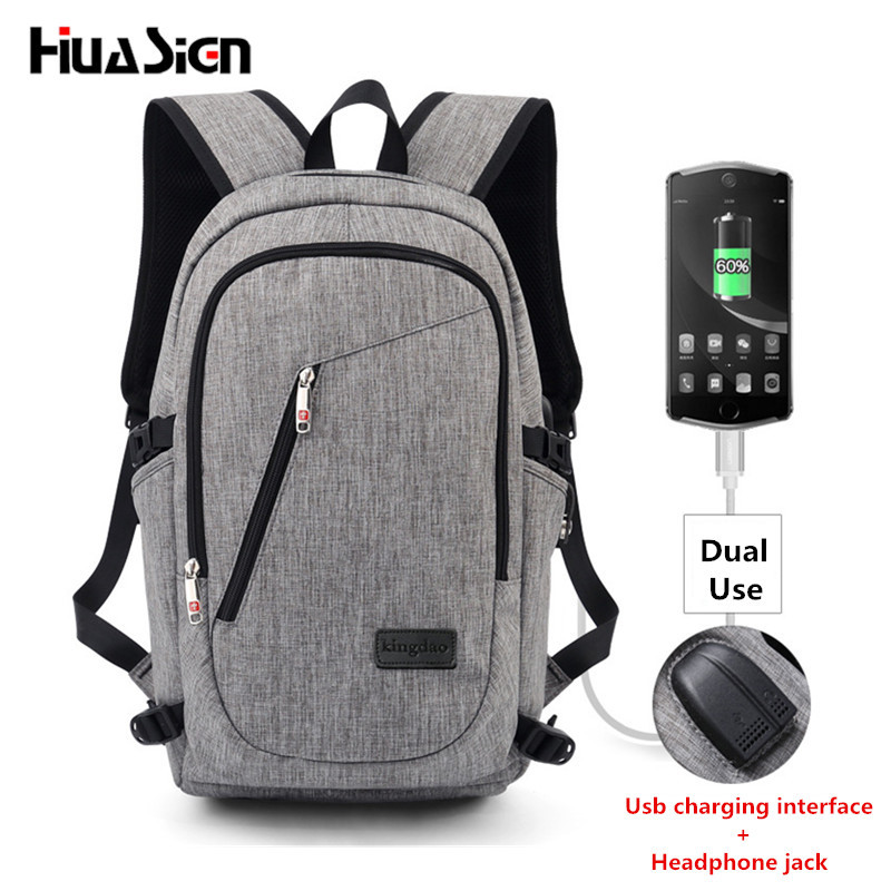 Business Water Resistant Polyester Laptop Backpack with USB Charging Port and Lock Fits Under 16-Inch Laptop and Notebook<br>