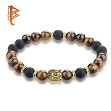BELAWANG Natural Tiger Eye Black Onyx Beaded Charms Bracelets Buddha beads Bracelet Jewelry for Women Man Meaning of Prayer(China)