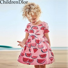 Girls Summer Dress 2017 Cotton Robe Fille Enfant Princess Dress Girl Costumes for Kids Party Dress with Lovely Printed Pattern