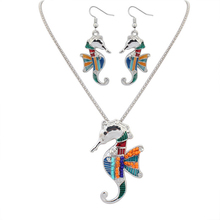 Fashion Trend Beautiful Jewelry High Quality Gold/Silver Plated Seahorse Necklace Earring Sets Wholesale Price Animal Sets