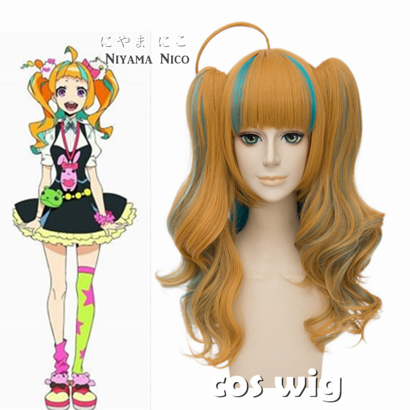 ECVTOP Anime Kiznaiver Niyama Nico Cosplay Costume Wig Ombre Harajuku Long Pigtail Wig for Cute Girl<br><br>Aliexpress