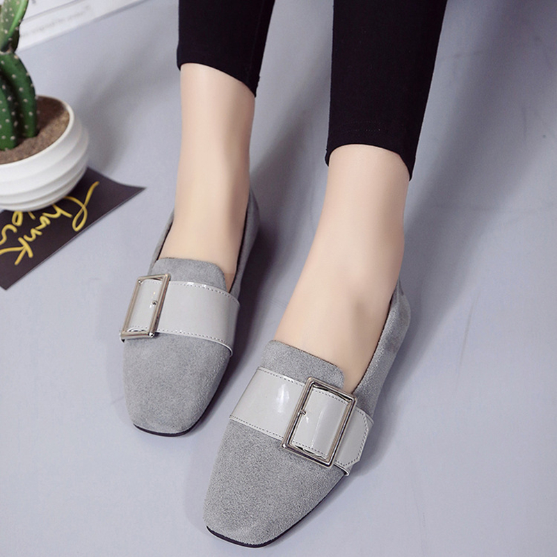 Square Toe Metal Buckle Casual Plaid Shoes Ladies Ballet Flat Slip-On Designer Shoes sapato feminino 2017 New Spring Size US 8<br><br>Aliexpress