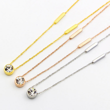 big crystal Chain Necklace For Women Women Simple Style Prevent fashion stainless steel jewelry wholesale