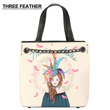 THREE FEATHER Brand Fashion PU Leather Women bag handbags ladies' Shoulder Bag Messenger Bag Beauty women Printing Bucket Bag