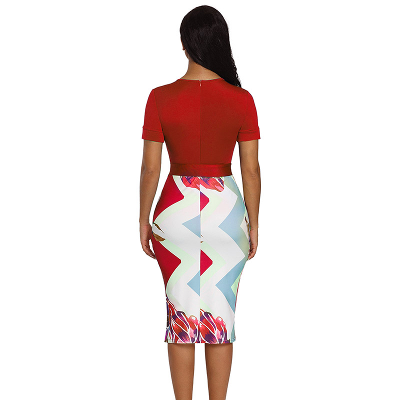 Red-Bowknot-Short-Sleeve-Printed-Sheath-Dress-LC610096-3-3