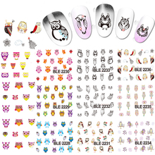 1sets 11 Styles Owl Bird Hot Water Transfer Stickers Decals Nail Art Tips Beauty DIY Decorations Nails Tools BLE2226-2236(China)