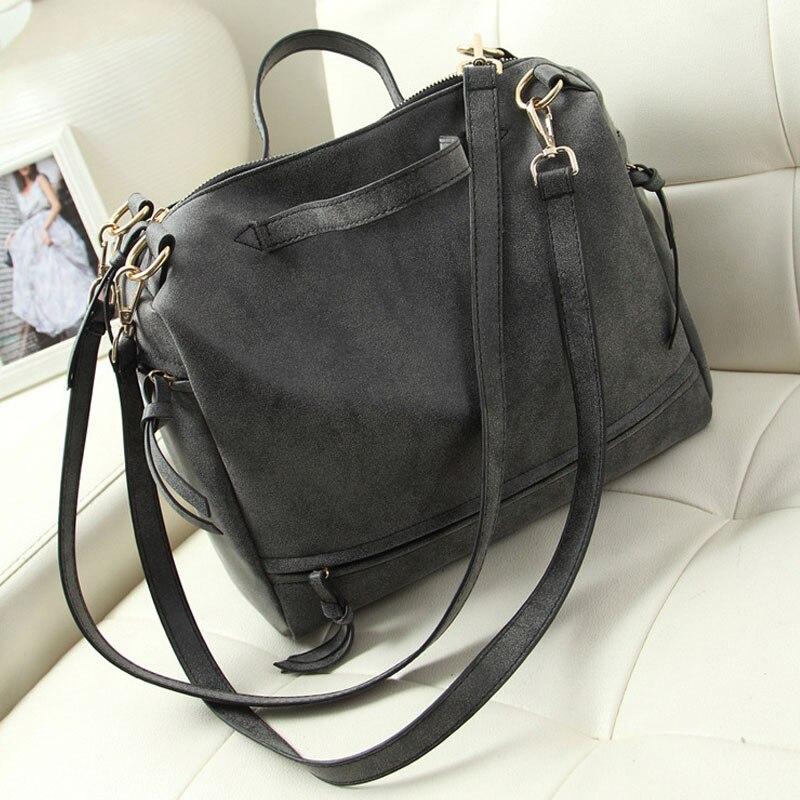 2017 New Womens Shoulder Bag Nubuck Leather Vintage Messenger Bag Motorcycle Handbag Casual Bags women bag Purse Dollar price<br><br>Aliexpress