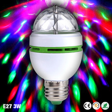 E27 3W AC85-260V New Colourful RGB Led Spotlight Auto Rotating Stage Light For Holiday KTV Bar Disco Party Led Bulb Lamp