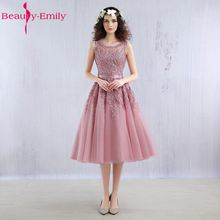 Beauty Emily 2017 Real photos Dust Pink Beaded Lace Appliques Short Prom Dresses Robe De Soiree Knee Length Party Evening Dress