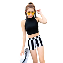 High Neck Two Pieces Swimming Suit Separate Stripes Letter Swimsuit Crop Top Swimwear Plus Size S-2XL Women Girls Beach Bathsuit(China)
