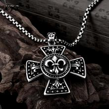 Vintage Punk Skull Cross Sword and Shield Pendant Necklace 316L Titanium Steel Gothic Men's And Boy's Necklace Jewelry