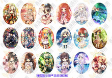 (18 pieces/lot) 18*25mm oval pattern cabochons mix girl/cartoon image glass cabochon blank pendant cover xl8781
