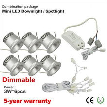 6pcs/set  2016 New product 3w Dimmable cabinet down light led mini downlight mini led spot with CE driver 90 degree 25mm cutout