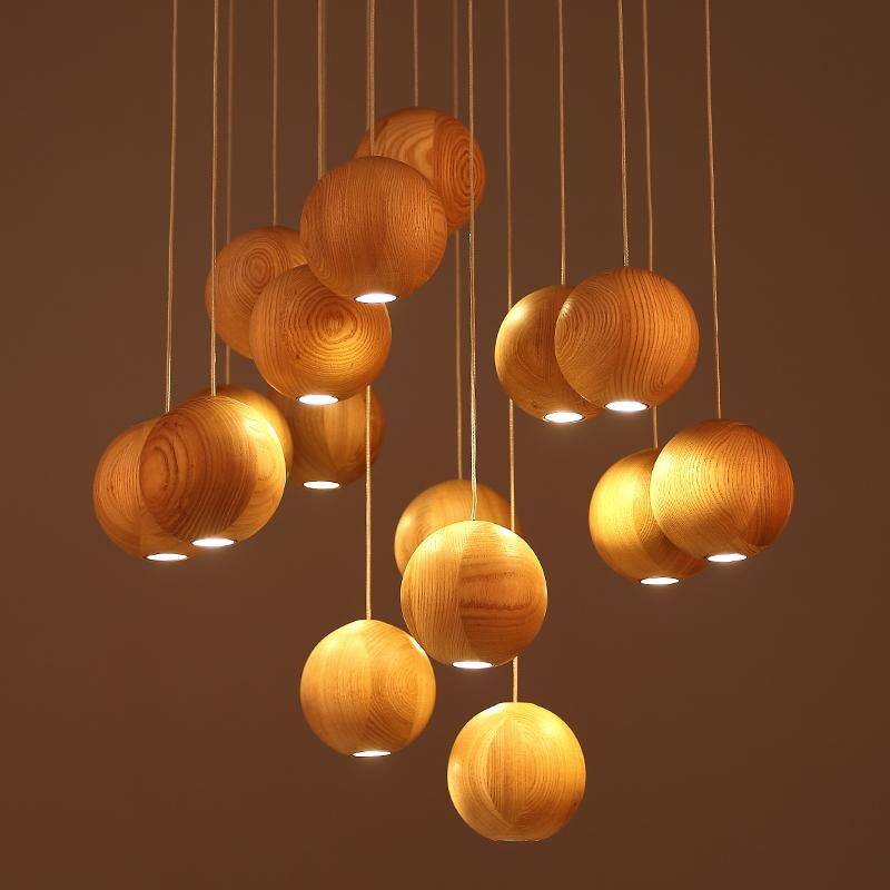 The modern  Cafe lounge bar creative wooden ball Nordic wood pendant lamp<br>