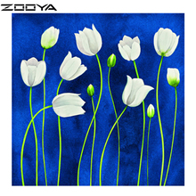 ZOOYA DIY 5D Diamond Painting White Floral Crystal Art Craft Sewing Rhinestones Creative Gift Plastic Canvas Cheap AT358