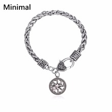 Minimal Antique Animal Slavic Giant Wolf Kolovrat Men Ankle Bracelets Handmade Bracelets & Bangles for Man/Woman Wicca Jewelry(China)