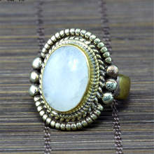 R149 Nepal Jewelry Brass Inlaid Natural Oval Moonstone Golden Rings Tribal Hand Jewel(China)