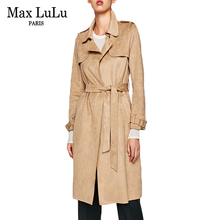 Max LuLu British Style Fashion Belt Casaco Brand Womens Long Trench Coat Faux Suede Leather Clothing Ladies Winter Windbreaker