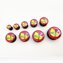 2PCS Cute Hello Kitty Acrylic flesh Ear Plugs Tunnels Saddles Ear Gauges and Expanders Ear stud Body Piercing Jewelry