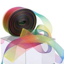 ZERZEEMOOY 1'' 25mm 10 yard/cord double faced rainbow organza ribbon space dye ribbon garment accessories
