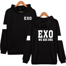 WE ARE ONE Design Hoodies Women Hip Hop With Zipper EXO Korean Black Cotton Long Sleeve Womens Jackets And Coats Plus Size XXS
