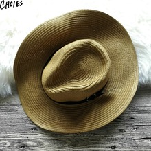 5 Colors Straw PU Leather Band Summer Brief Cowboy Hats 2017 New Brand Fashion Casual Belt Unisex Hat Men Women Caps