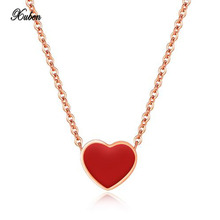 Xuben Small red heart necklace students Sen Department pendant short clavicle chain soft sister jewelry(China)