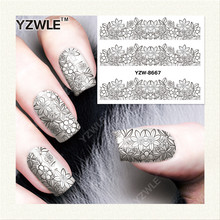 YZWLE 1 Sheet DIY Nails Art Decals Water Transfer Printing Stickers For Manicure Salon YZW-8667