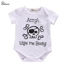 Cotton Newborn Baby Boy Girl Letter Bodysuit Onesie Babies Pirate Printing Jumpsuit Playsuit Outfits(China)