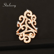SINLEERY Vintage Micro Paved Cubic Zirconia Hollow Lace Flower Rings Silver/Gold Color Crystal Engagement Wedding Jewelry JZ027
