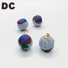 DC 1pcs Fabric Embroidery Flower Rose Beads Charms Pendant 16mm with Hole fit Necklace Bracelet Diy Jewelry Making Findings